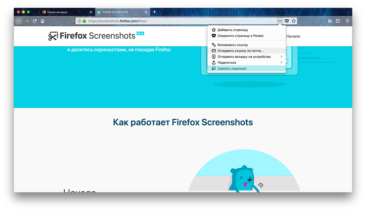 Скриншоты в Mozilla Firefox